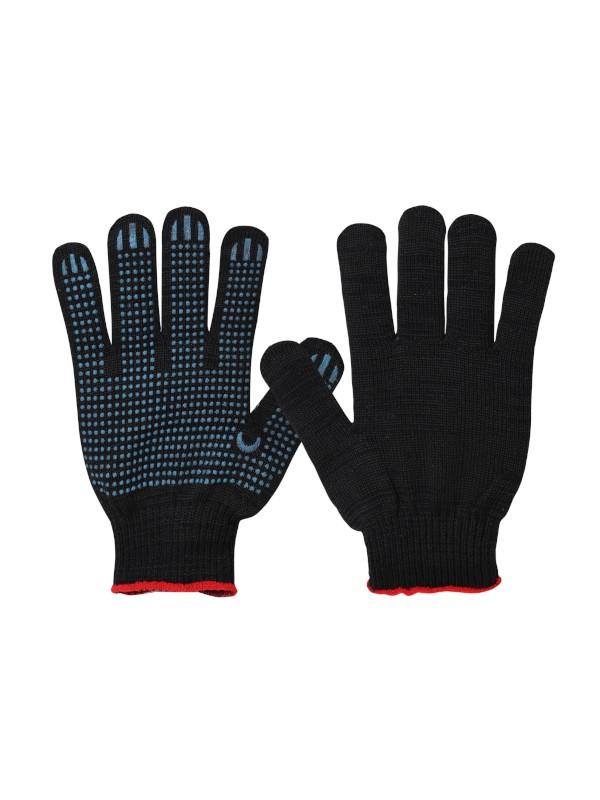 Перчатки трикот. х/б с ПВХ вязан. 5-и нитка черные,