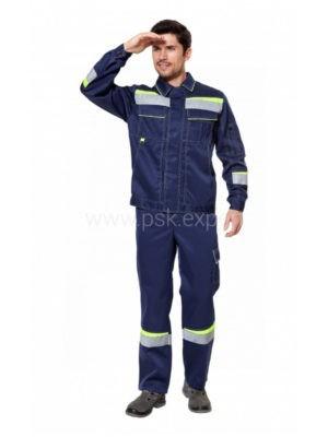 Костюм рабочий мужской летний «Комфорт 2» неоновый/темно-синий