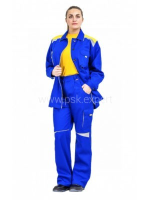Костюм рабочий женский летний «Алатау» цвет васильковый/желтый