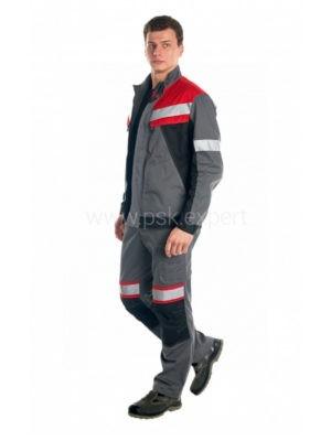 Костюм рабочий мужской летний «Памир 2» цвет серый/черный/красный